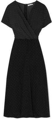 Max Mara Polka-dot Silk-chiffon And Jersey Midi Dress - Black