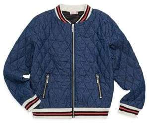 Design History Girl's Quilted Denim Bomber