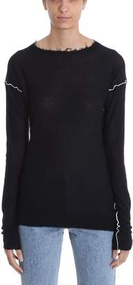 Helmut Lang Coverstitch Fitted Crew Neck Sweater