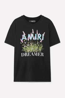 Amiri Printed Cotton-jersey T-shirt - Black