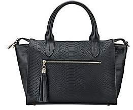 GiGi New York Grace Embossed Leather Satchel - Black