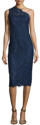 Shoshanna One-Shoulder Lace Midi Cocktail Dress, Navy $550 thestylecure.com
