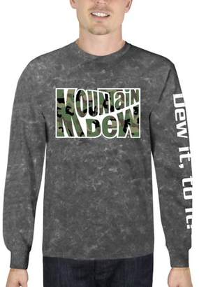 Automotive Mountain Dew Camo Men's Long Sleeve Mineral Wash Graphic Tee