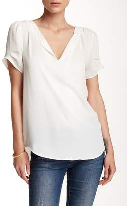 Daniel Rainn DR2 by Pleated Sleeve Split Neck Blouse