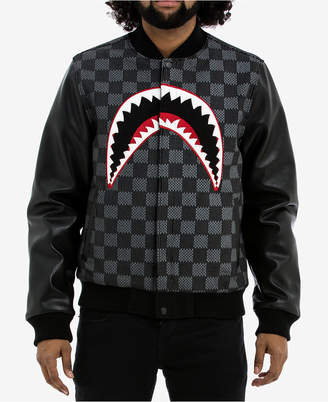 Hudson NYC Men's Shark Mouth Appliqué Varsity Jacket with Faux-Leather Sleeves