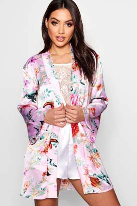 boohoo Oriental Floral Kimono Robe