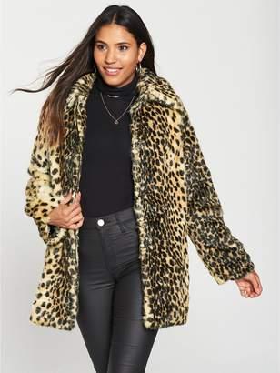 Warehouse Faux Fur Animal Coat - Tobacco