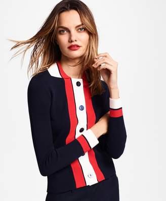 Brooks Brothers Stripe-Trim Milano-Knit Cardigan