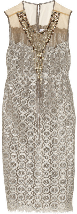 Anna Sui Embellished metallic lace dress