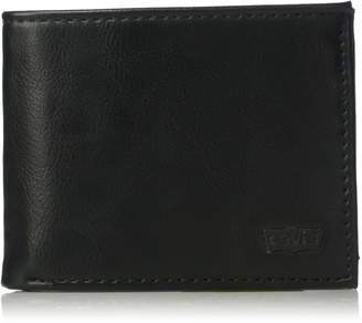 Levi's Men's Slim Bifold Wallet - Genuine Leather Casual Thin Slimfold with Extra Capacity and ID Window