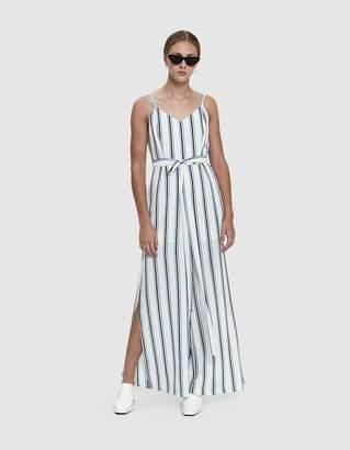 Farrow Harrison Striped Tie Waist Jumpsuit in Off White