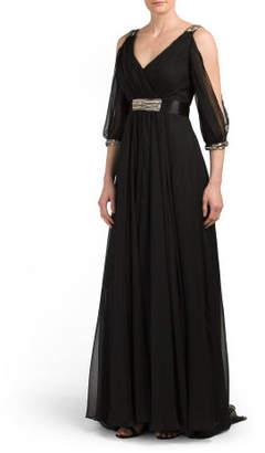 Slit Sleeve Beaded Long Gown
