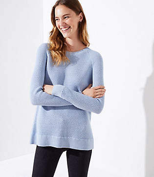 LOFT Petite Ribbed Crossover Back Sweater