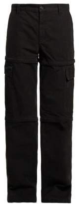 Balenciaga Zipped Panel Cotton Cargo Trousers - Womens - Black