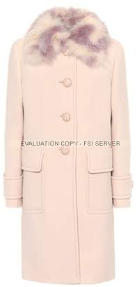 Miu Miu Fur-trimmed wool-crêpe coat