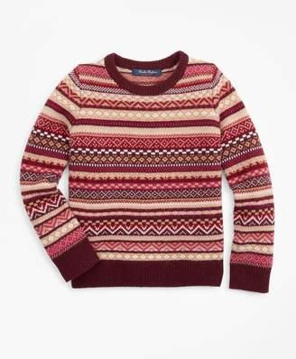 Brooks Brothers Girls Merino Wool-Blend Fair Isle Sweater