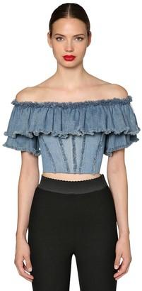 Dolce & Gabbana Ruffled Cotton Denim Crop Top