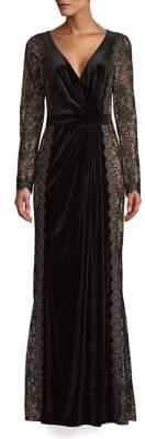 Tadashi Shoji Lace A-Line Velvet Gown