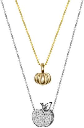 Alex Woo 14K Yellow Gold & Sterling Silver Mini Pumpkin & Diamond Apple Pendant Necklace - Set of 2 - 0.04 ctw