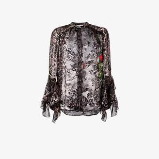 Preen by Thornton Bregazzi floral and snakeskin print blouse