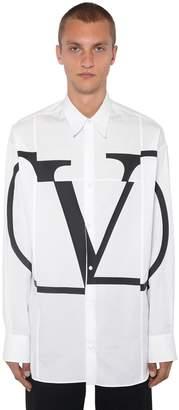 Valentino Oversized Logo Printed Cotton Shirt