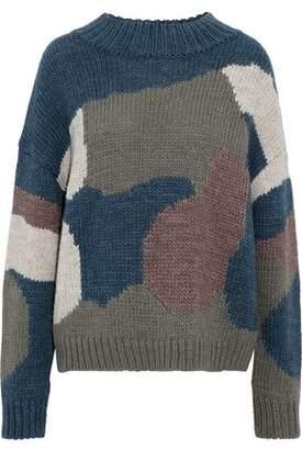 MiH Jeans Camo Intarsia-Knit Sweater
