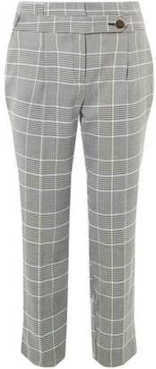 Dorothy Perkins Womens Petite Ochre Check High Waist Trousers