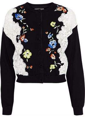 Alice + Olivia Leena Lace-Paneled Embroidered Stretch-Cotton Cardigan