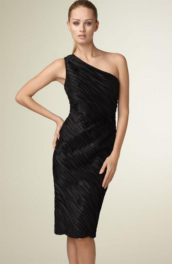 Carmen Marc Valvo Ruched One Shoulder Dress