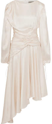 Preen by Thornton Bregazzi Amber Ruched Silk-satin Midi Dress - Ivory
