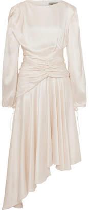 Preen by Thornton Bregazzi Amber Ruched Silk-satin Midi Dress - Ivory