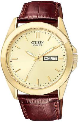 JCPenney Citizen Quartz Citizen Mens Champagne Dial Brown Leather Strap Watch BF0582-01P
