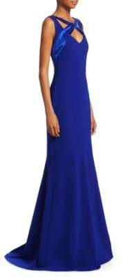 Theia Mermaid Hem Crepe Gown
