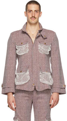 Palomo Spain Burgundy and White Net Jacket