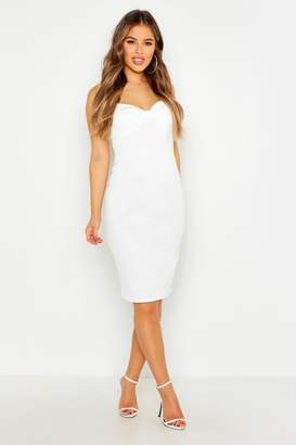 boohoo Petite Bust Detail Midi Dress