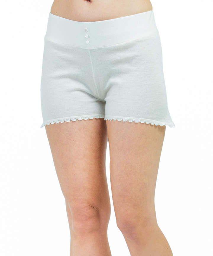 Ivory Cashmere Button-Accent Shorts - Women