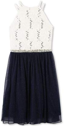 Speechless Big Girls' Sequin Lace/Mesh Tulle High Neck Dress, Ivory Navy