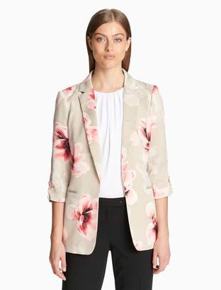Calvin Klein floral open roll-sleeve jacket