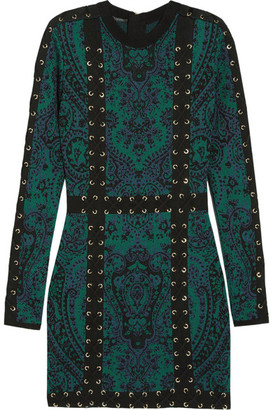 Balmain - Lace-up Jacquard-knit Mini Dress - Emerald $3,505 thestylecure.com
