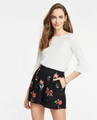 Ann Taylor Garden Floral Pleated Shorts