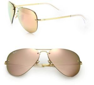 Ray-Ban Pilot Metal Aviator Mirrored Sunglasses $175 thestylecure.com