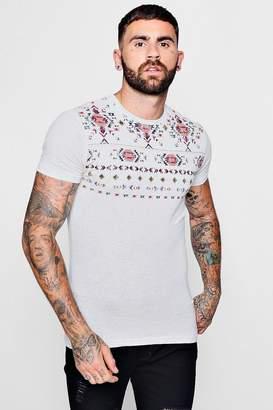boohoo Tribal Yoke Print T-Shirt