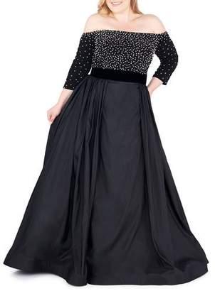 209fcda2f43a0 Mac Duggal Plus Size Off-the-Shoulder 3 4-Sleeve Gown w