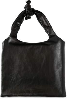 Jil Sander Logo Printed Leather Top Handle Bag