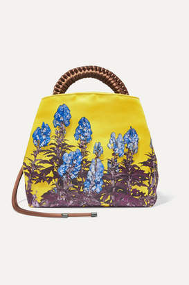 Dries Van Noten Floral-print Satin Tote - Yellow