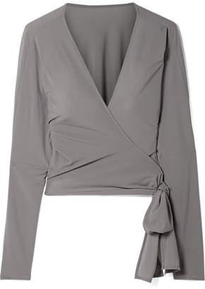 Norma Kamali Stretch-jersey Wrap Top - Gray