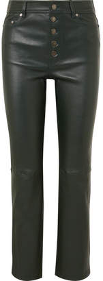 Joseph Den Leather Straight-leg Pants - Dark green