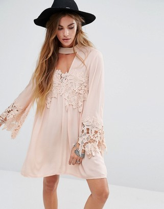 Kiss The Sky High Neck Swing Dress With Lace Inserts And Choker Neck $73 thestylecure.com