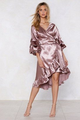 Nasty Gal Wearing and Tiering Satin Dress