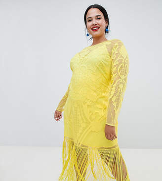 Asos Design Curve Embroidered Fringe Maxi